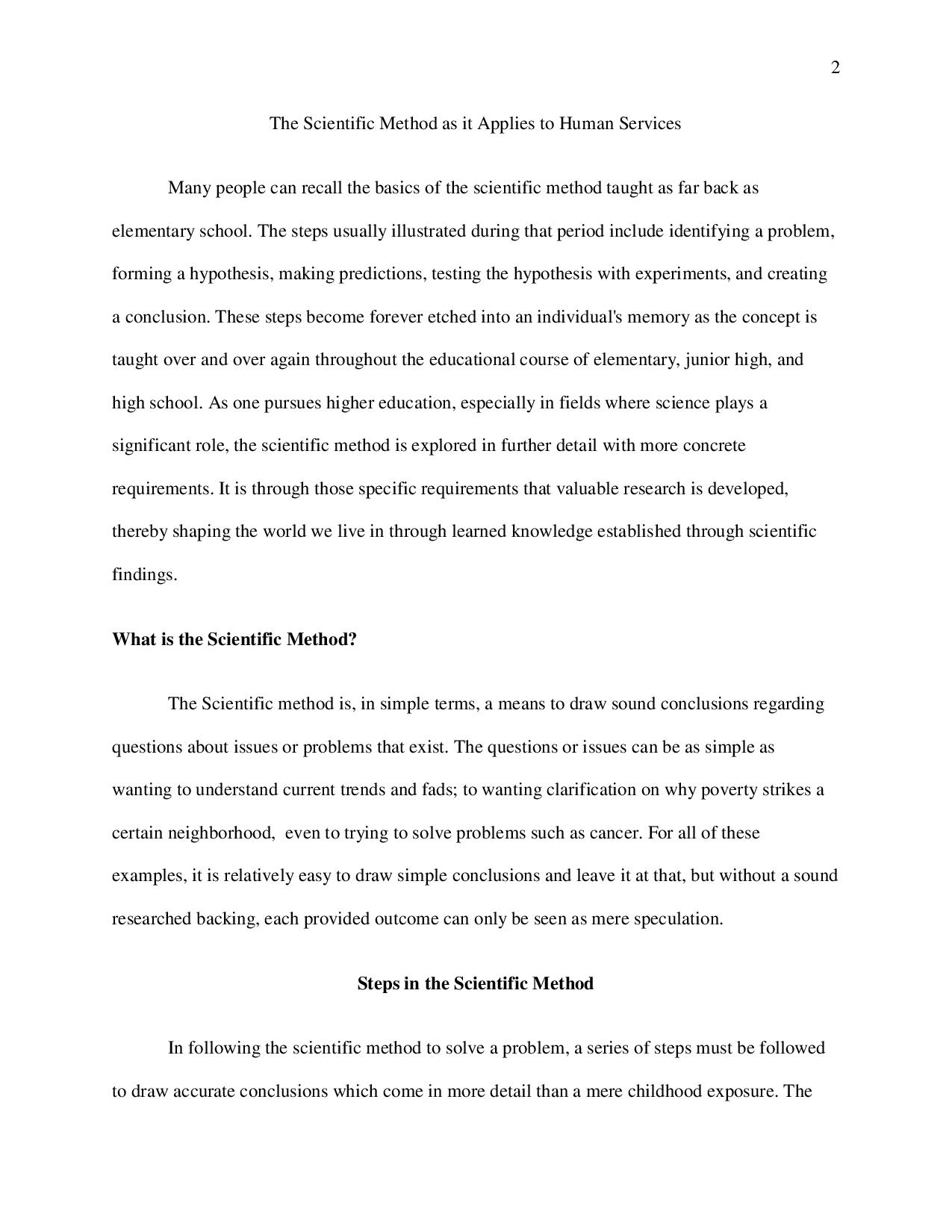 scientific method essay example The scientific method is more than just hypotheses and experiments in this lesson, we'll explore the themes and variations that make up the world.